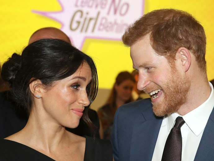We're guessing Harry tried to charm Meghan with a silly joke?