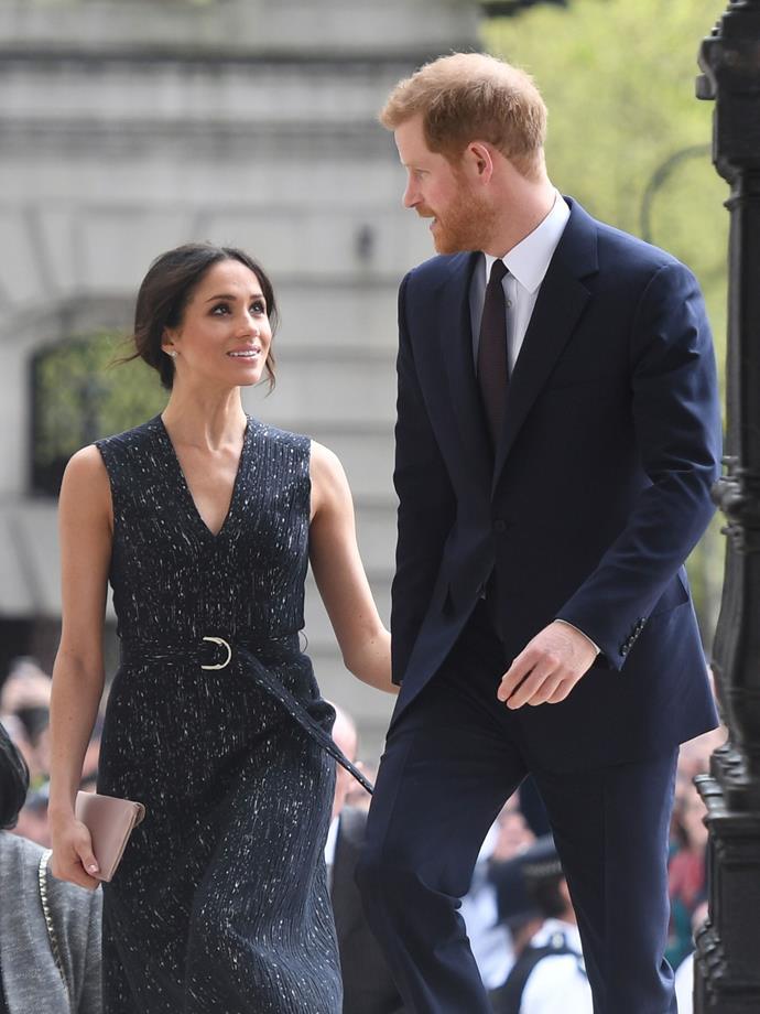 Again, Meghan gazes into Harry's eyes.