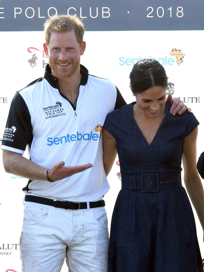 Markle supports her man after what looked to be a rather intense polo match.