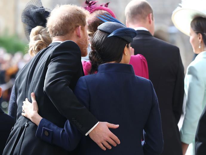 "The supportive back holding was aplenty [at the wedding](https://www.elle.com.au/celebrity/meghan-markle-pregnancy-clue-18813|target=""_blank"") of Princess Eugenie and Jack Brooksbank."