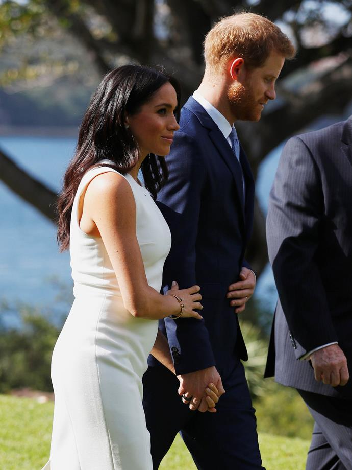 """Stepping out for the first time since announcing that they are [expecting their first child](https://www.elle.com.au/celebrity/meghan-markle-prince-harry-first-appearance-australia-18810
