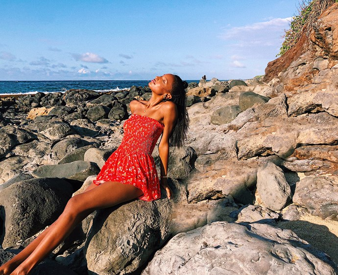 *The perfect tiny dress*<br><br> It seems our summer lives revolve around finding *that* perfect summer dress. You know the one: versatile, wearable, cute as hell. Jasmine Tookes found hers—now it's your turn.
