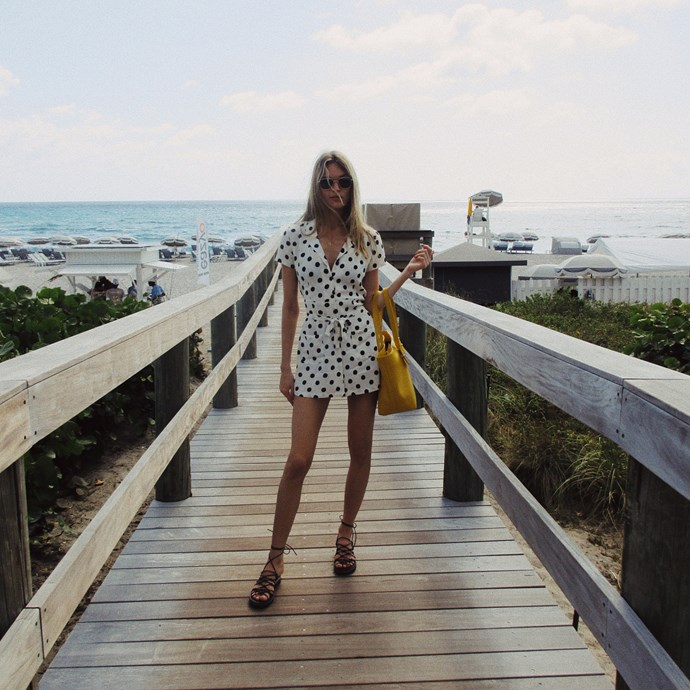 *The summer-perfect shirt dress*<br><br> Thanks to Meghan Markle, shirt dresses are back on our radar in a big way. And thanks to Martha Hunt and her tiny polka-dotted version, they're onto our beach radar, too. Slip on your dress, add some fussy sandals for a little extra kick, and pick up a yellow tote bag that says the exact right amount of 'Look at me.'