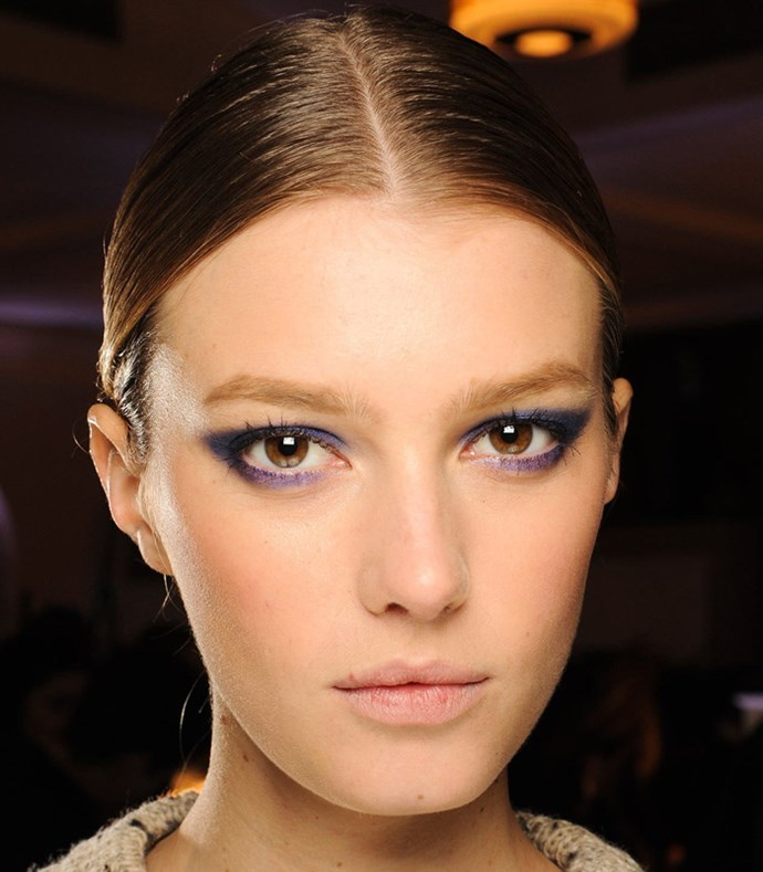 **Navy Smokey Eye** <br><br> **Runway**: Jason Wu