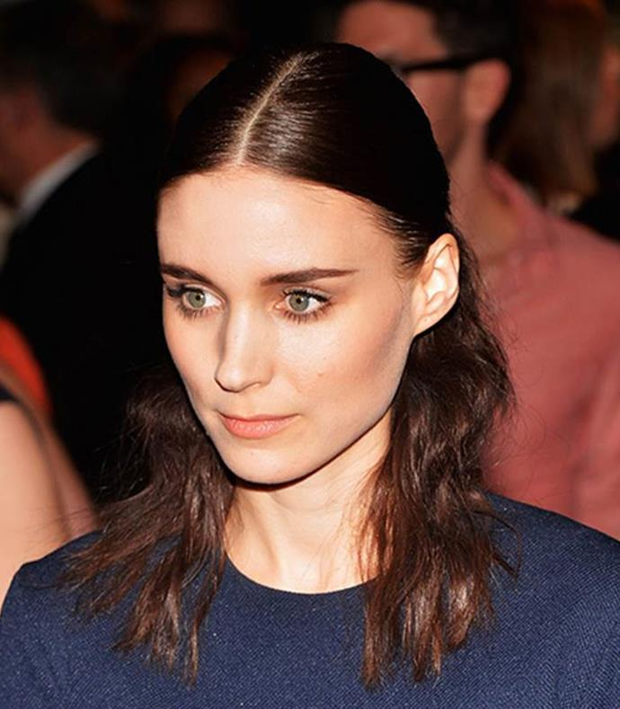 **Centre Parting Half-Up** <br><br> **Red Carpet:** Behold, the simplistic beauty of Rooney Mara's 'do. She flaunts a half-up, half-down style you could DIY with a hairbrush, elastic and gel.
