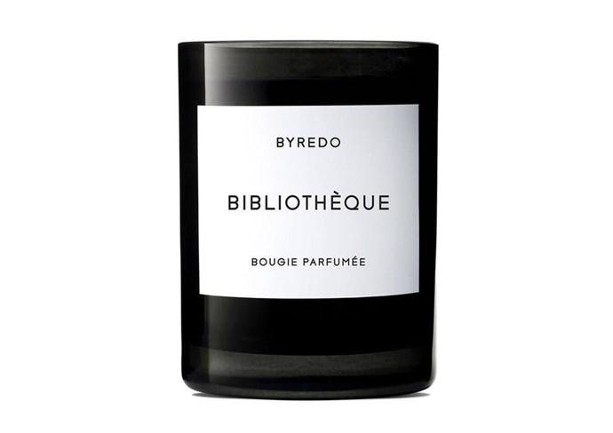 "**Bibliothèque Candle by Byredo, $95 at [Mecca](https://www.mecca.com.au/byredo/bibliotheque-candle/V-018296.html#q=byredo&gclid=CjwKEAjwytLKBRCX547gve7EsE4SJAD3IZV6XAADdW01iw9mYUsVfhnT-ZmppfD3gBD0HtrE7VQSbBoCEmjw_wcB&start=1|target=""_blank""|rel=""nofollow"")** <br><br> **Scent**: Peach, plum, violet, peony, patchouli, leather and vanilla."