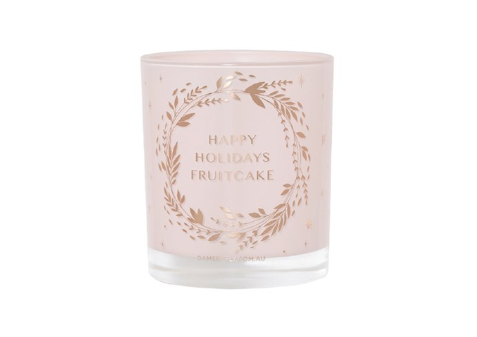 "**Happy Holidays Fruitcake Christmas Candle by Damselfly, $50 at [Luxah](https://luxah.com.au/product/happy-holidays-fruitcake-christmas-candle/|target=""_blank""