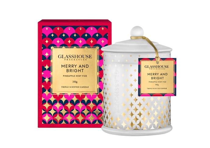 "**Merry and Bright 2018 by Glasshouse, $47 at [Glasshouse Fragrances](https://www.glasshousefragrances.com/candles/350g/merry-and-bright-2018-pineapple-mint-fizz|target=""_blank""