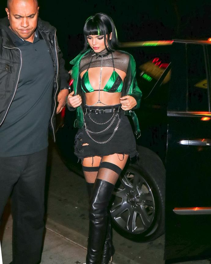 Kendall Jenner became a Powerpuff Girl for Halloween 2017, and sported a pixie wig and green-and-black bra to boot.