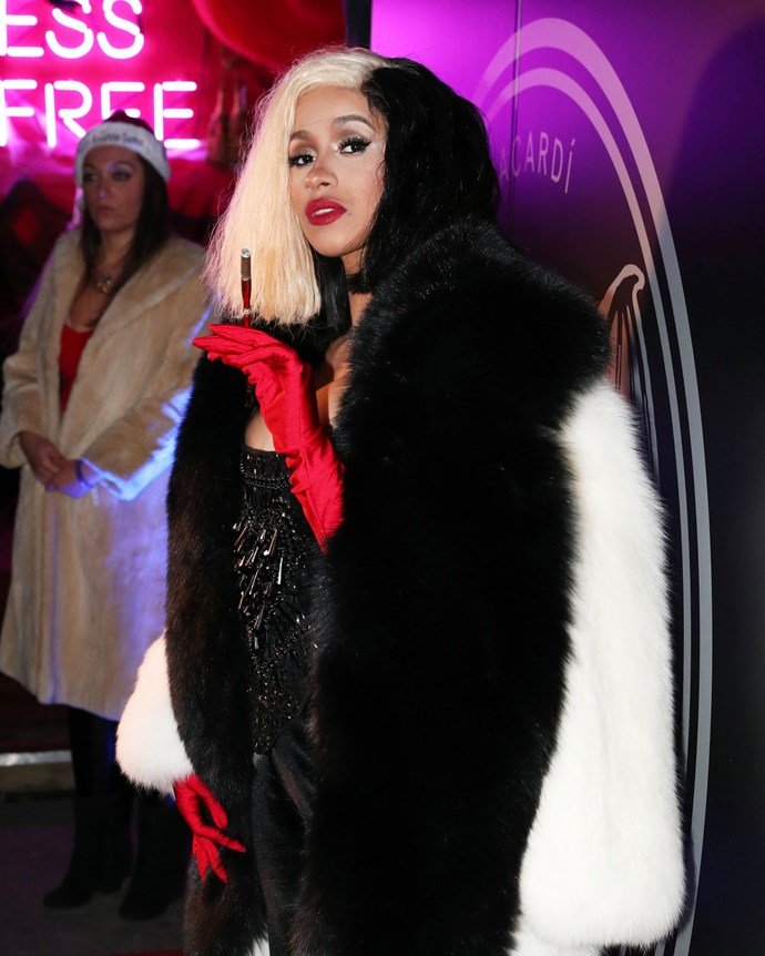 "As animated as her everyday fashion might be already, [Cardi B](https://www.elle.com.au/fashion/cardi-b-linda-evangelista-16286|target=""_blank"") took her style to the next level with her 2017 Cruella de Vil ouftit."