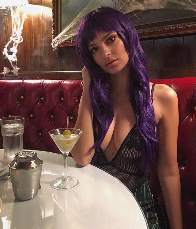 "[Emily Ratajkowski](https://www.elle.com.au/celebrity/emily-ratajkowski-naked-moments-18364|target=""_blank"") donned a purple wig and a sheer top (with eye-catching nipple covers) for Halloween 2017.  <br><br> *Image: [@emrata](https://www.instagram.com/p/Ba1u9u2lyAe/?taken-by=emrata