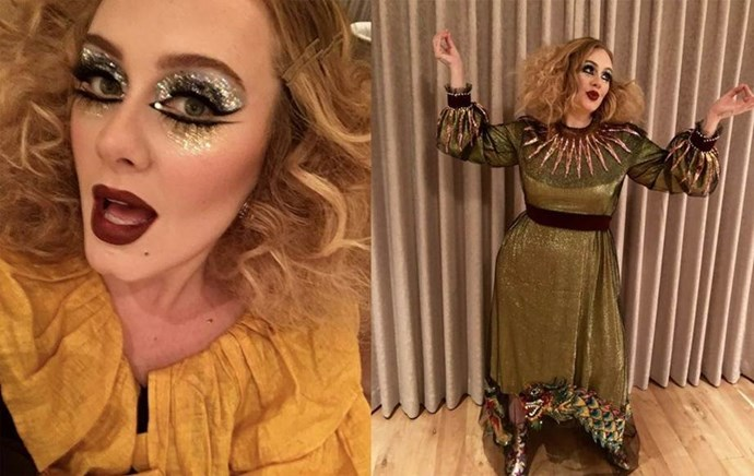 "Adele took it to the next level in an outfit that was reportedly head-to-toe Gucci.  <br><br> *Image: [@adele](https://www.instagram.com/p/Ba06JkulP3m/?taken-by=adele|target=""_blank"")*"