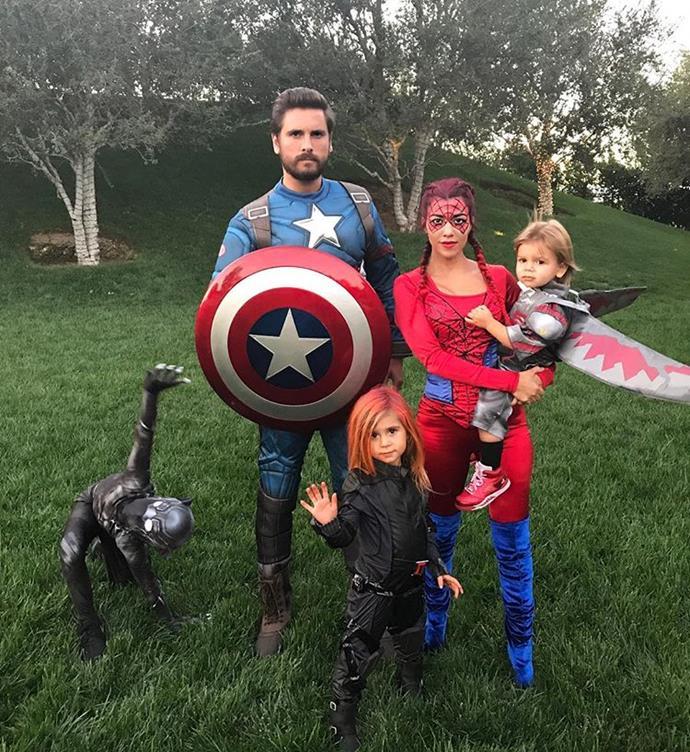 "Kourtney Kardashian, Scott Disick and children Mason, Penelope and Reign made for a gang of Marvel superheroes in 2016.  <br><br> *Image: [@kourtneykardash](https://www.instagram.com/p/BMRbEOslCNL/?utm_source=ig_embed&utm_campaign=embed_loading_state_control|target=""_blank"")*"
