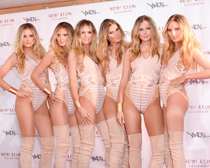 Who could forget when Heidi Klum went to Halloween 2016 as an army of herself? Spot the real one.