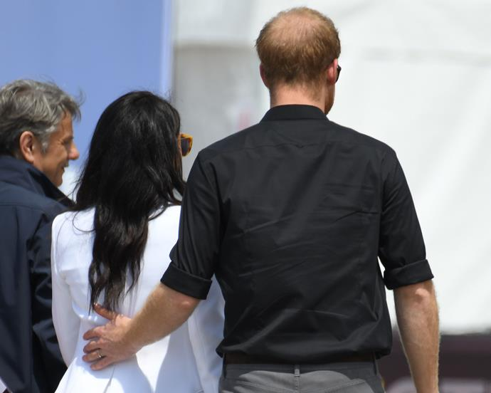 """***When Harry leans Meghan's way*** <br> The couple's constant physical closeness, even when there's no actual need to be close, is a psychological by-product of their love and adoration for one another.  <br><br> Body language expert Dr. Lillian Glass said to [*Bustle*](https://www.bustle.com/p/prince-harry-meghan-markles-body-language-reveals-so-much-about-their-relationship-according-to-expert-12030180
