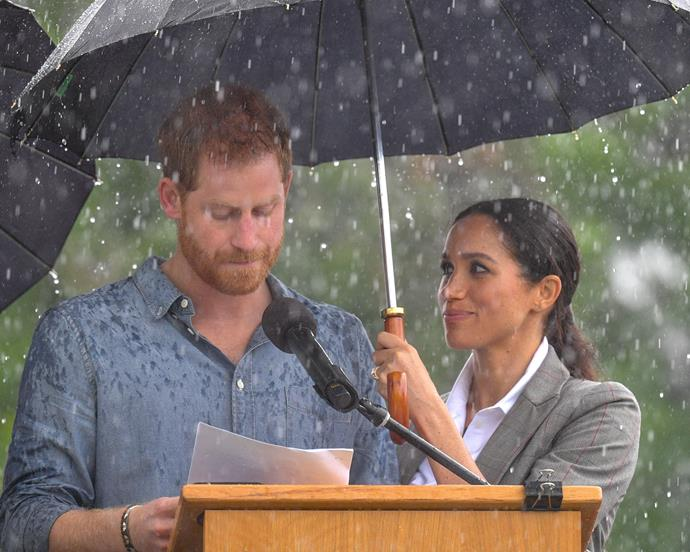 """***Meghan's stares*** <br> At this point, you might be thinking it's mostly Harry who's doing all the adoring—but Meghan's admiration for her husband is absolutely clear. Dr. Lillian Glass told *Bustle* """"[Meghan and Harry] are in sync as they are in step with no need to look at each other for guidance."""" <br><br> """"Their relationship shows they have fun and are on the same page."""""""