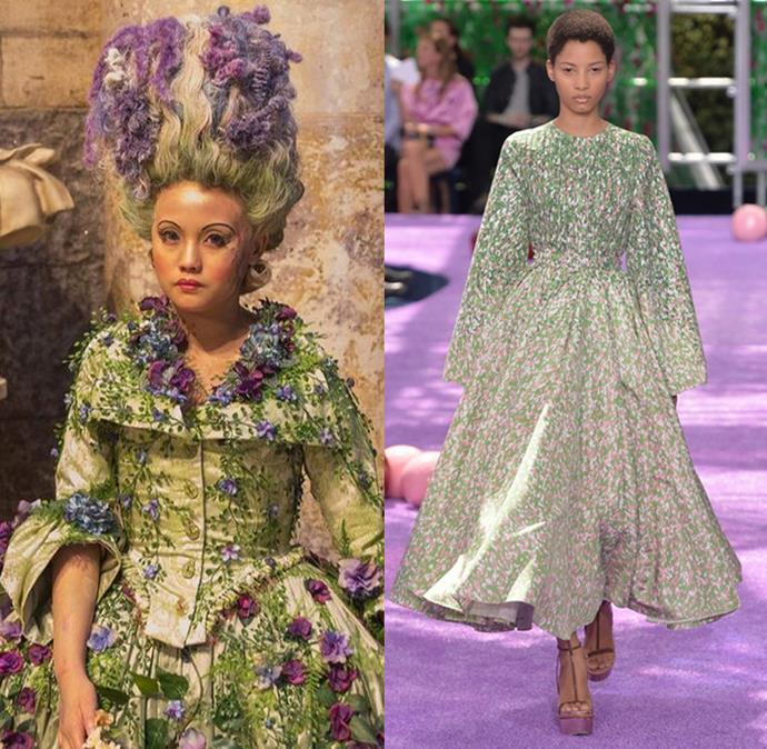 """The Land of the Flowers' costumes from Disney's *The Nutcracker and the Four Realms* definitely wouldn't have looked out of place on the runway at Raf Simons' Dior autumn/winter '15 couture show. <br> <br> While the fashion design took inspiration from Flemish painter Hieronymus Bosch's *Garden of Earthly Delights*, costume designer Jenny Beavan went down a different route for her fantastical florals for the upcoming festive flick saying: """"When I have nightmares or dreams, they're often anchored in something I've seen that day or something I have around. So we went to the sort of Staffordshire [porcelain] figures people would have; they're 18th century, and they were perfect for the Realm of Flowers.""""  <br><br>"""