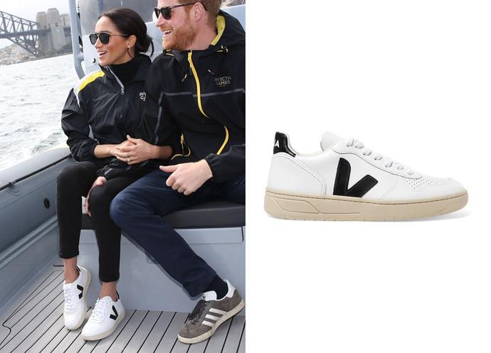 "Wearing the V-10 sneakers by Veja, $195 at [Net-a-Porter](https://www.net-a-porter.com/au/en/product/1063198|target=""_blank""|rel=""nofollow"")."