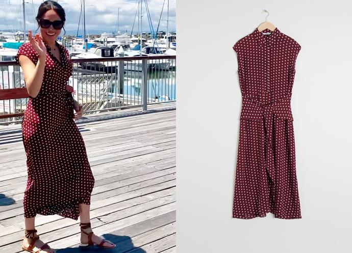 "Wearing the Waist Knot Midi Dress by [& Other Stories](https://www.stories.com/entrance.html?goeorguri=%2Fen_eur%2Fabout%2Fabout-us.html|target=""_blank""