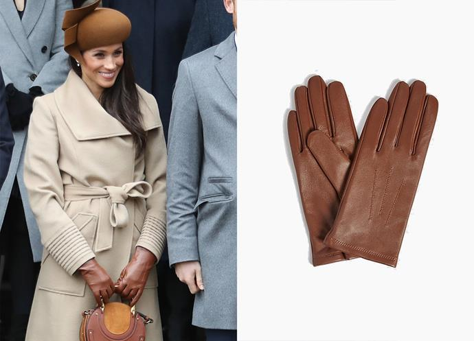 "Wearing the leather stitch gloves, $34 at [Marks & Spencer](https://www.marksandspencer.com/au/leather-stitch-detail-gloves/p/P60109556.html|target=""_blank""
