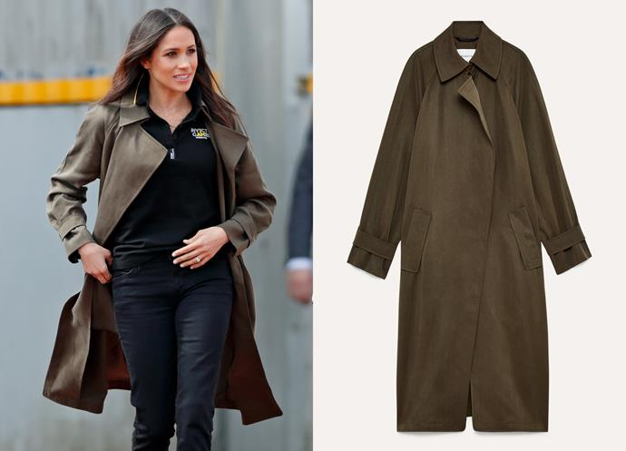 "Wearing the Lawson trench, $345 at [Aritzia](https://www.aritzia.com/intl/en/product/lawson-trench-coat/50438025.html|target=""_blank""