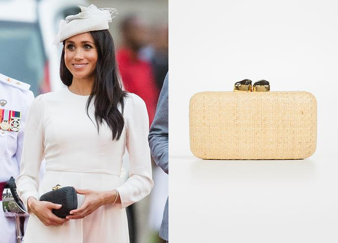 "Wearing the 'Anna' clutch by Kayu, $158 at [Shopbop](https://www.shopbop.com/anna-straw-clutch-kayu/vp/v=1/1560096446.htm|target=""_blank""