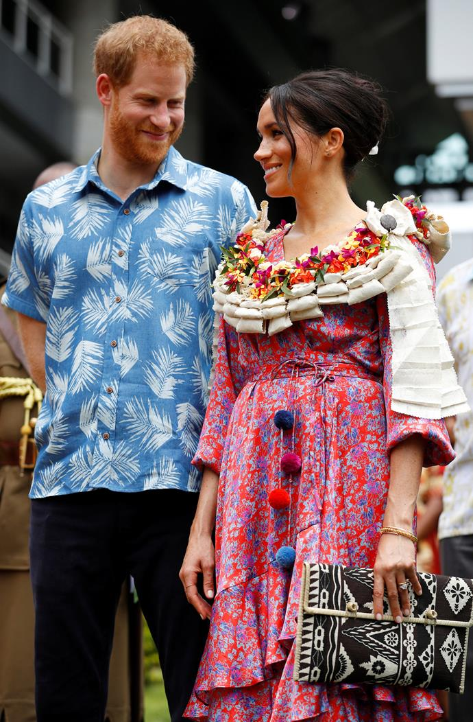 Prince Harry and Meghan Markle arriving at the University of the South Pacific on October 24, 2018 in Suva, Fiji.