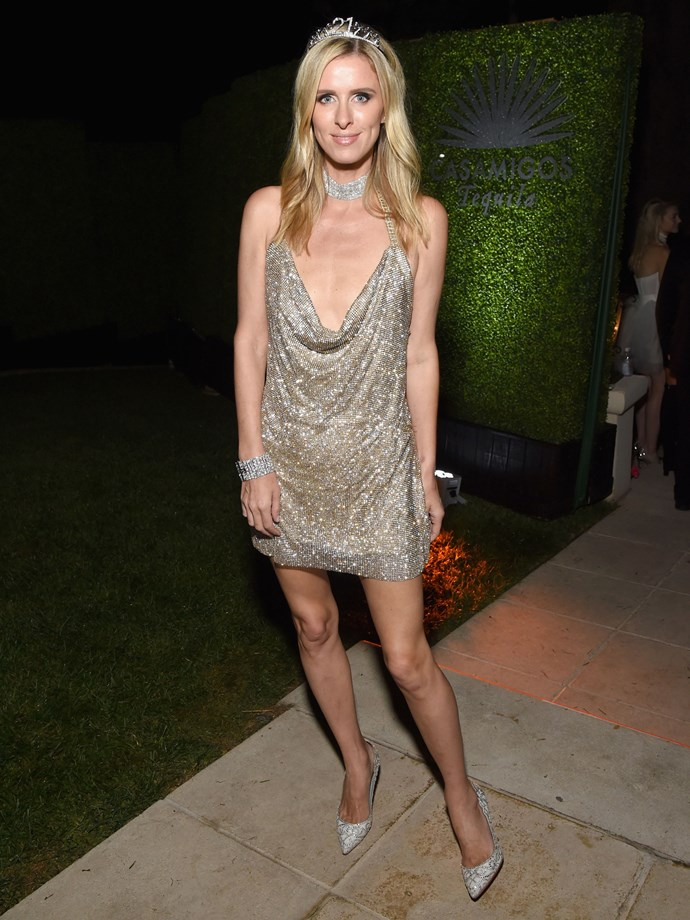 Nicky Hilton as sister Paris Hilton in her famous 21st birthday outfit.