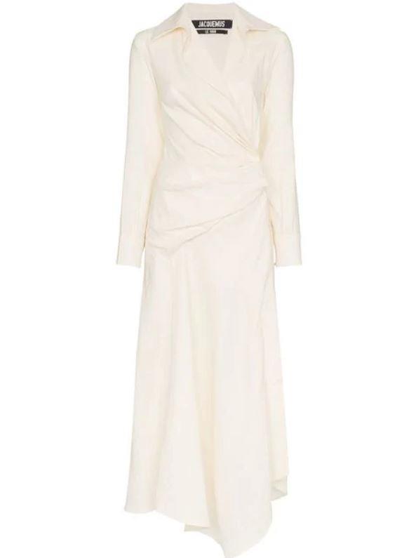 "*White Linen/Cotton wrap shirtdress by Jacquemus, $897 at [Farfetch](https://www.farfetch.com/au/shopping/women/jacquemus-white-wrap-shirt-dress-item-13016245.aspx?storeid=9359|target=""_blank""|rel=""nofollow"")*"