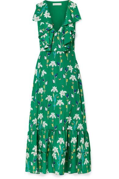 "*'Carlotta' printed Crêpe-de-chine maxi dress, $1038.61 at [Net-a-Porter](https://www.net-a-porter.com/au/en/product/1068545/Borgo_De_Nor/carlotta-ruffled-printed-crepe-de-chine-maxi-dress|target=""_blank""|rel=""nofollow"")*"