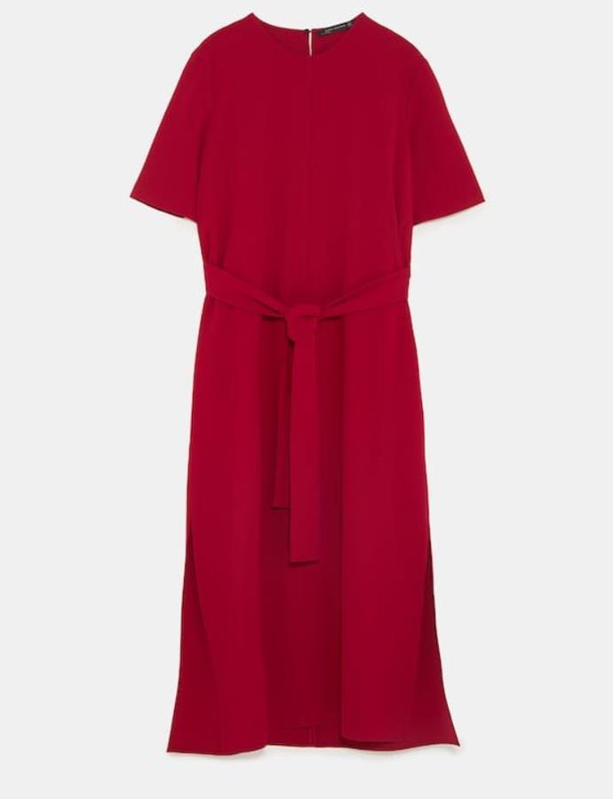 "*Flowing dress with tie belt by ZARA, $99 at [ZARA](https://www.zara.com/au/en/flowing-dress-with-tie-belt-p03039778.html?v1=6457699&v2=1055438|target=""_blank""|rel=""nofollow"")*"