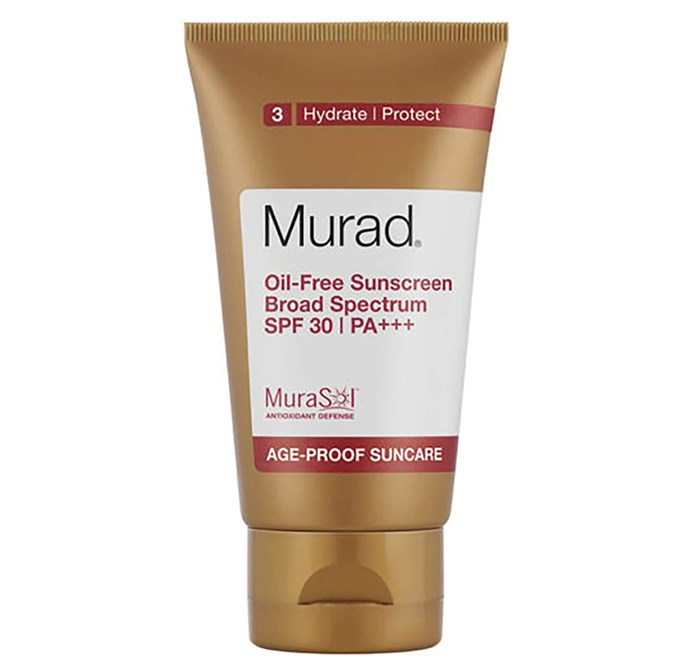 "**Oil-Free Sunscreen SPF 30+ by Murad, $63.55 at [Zest Beauty](https://www.zestbeauty.com/murad-oil-free-sunscreen-spf30-50ml.html|target=""_blank""