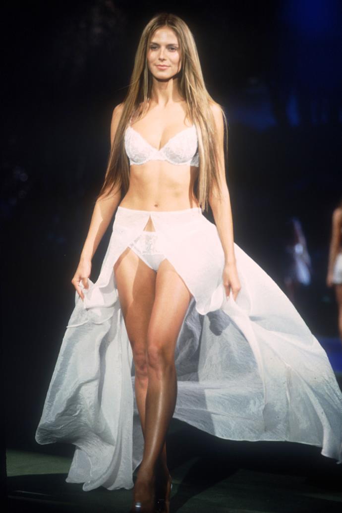 ***Millennium Fantasy Bra (1999)*** <br><br> **Model:** Heidi Klum <br> **Detail:** Thousands of finely-cut diamonds <br> **Cost:** $10 million