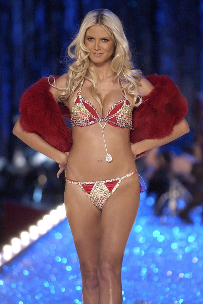 ***'Very Sexy' Fantasy Bra (2003)*** <br><br> **Model:** Heidi Klum <br> **Detail:** Featured the second largest diamond in the world <br> **Cost:** $11 million