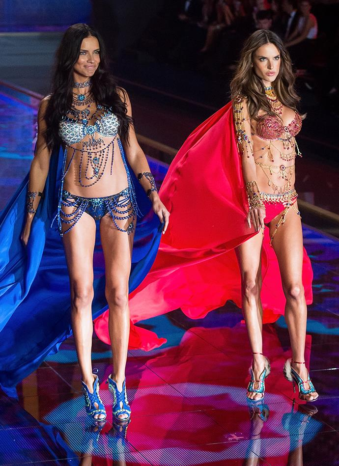***Dream Angels Fantasy Bras*** <br><br> **Models:** Adriana Lima and Alessandra Ambrosio <br> **Detail:** 16,000 diamonds and gemstones each <br> **Cost:** $2 million each
