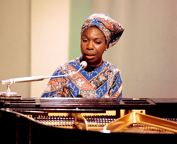 "**Nina Simone**  <br> <br> Otherwise known as ""High Priestess of Soul"", vocalist Nina Simone is remembered as being one of the most eclectic female artists of all time, her music spanning from classical through to pop. A powerful performer, Simone was dedicated to the Civil Rights Movement, using her music to address social and racial issues. Simone was a voice for many marginalised people, and developed a huge following that remains today."
