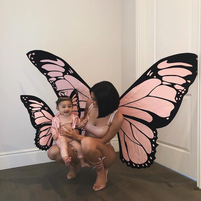 Kylie Jenner and Stormi Webster as butterflies.