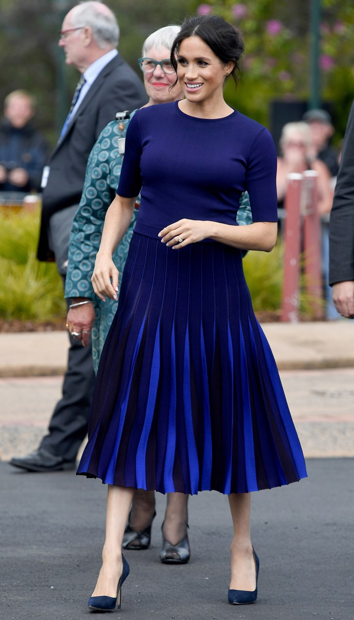 ***Visiting Rainbow Springs***<br><br> Custom pleated skirt by Givenchy: Estimated at $2,200<br> Custom crew-neck sweater by Givenchy: Estimated at $1,300 <br> 'BB' pumps by Manolo Blahnik: $936 <br><br> *Total:* $4,436