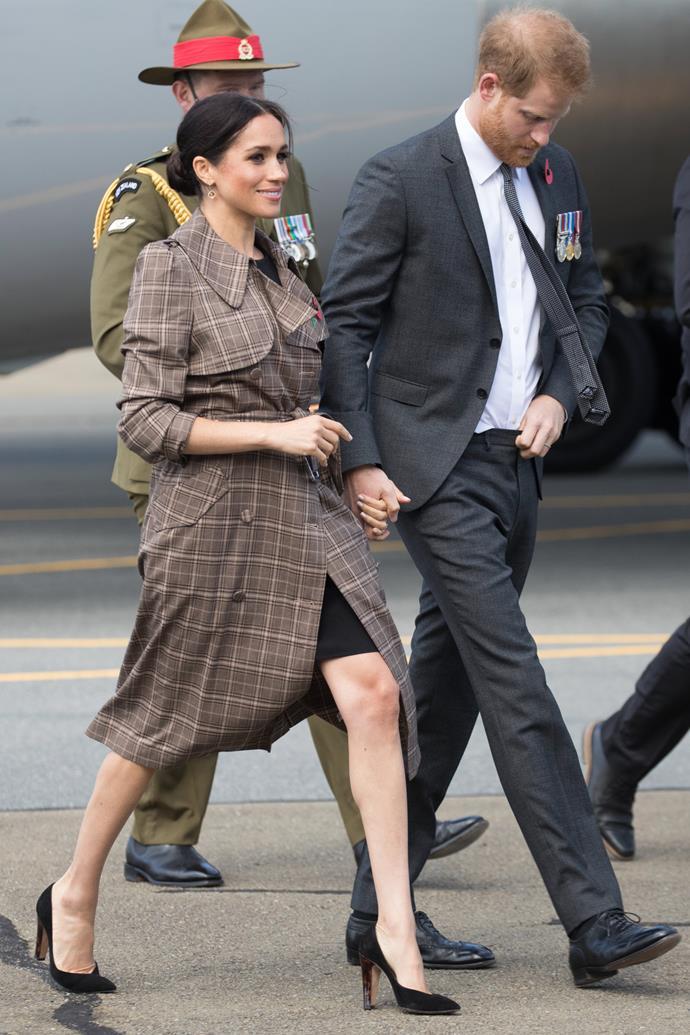 ASOS Maternity dress: **$78** <br> Karen Walker 'Banks' trench coat: **$975** <br> Sarah Flint 'Jay' pumps: **$679** <br><br> **Total cost: *$1,732***