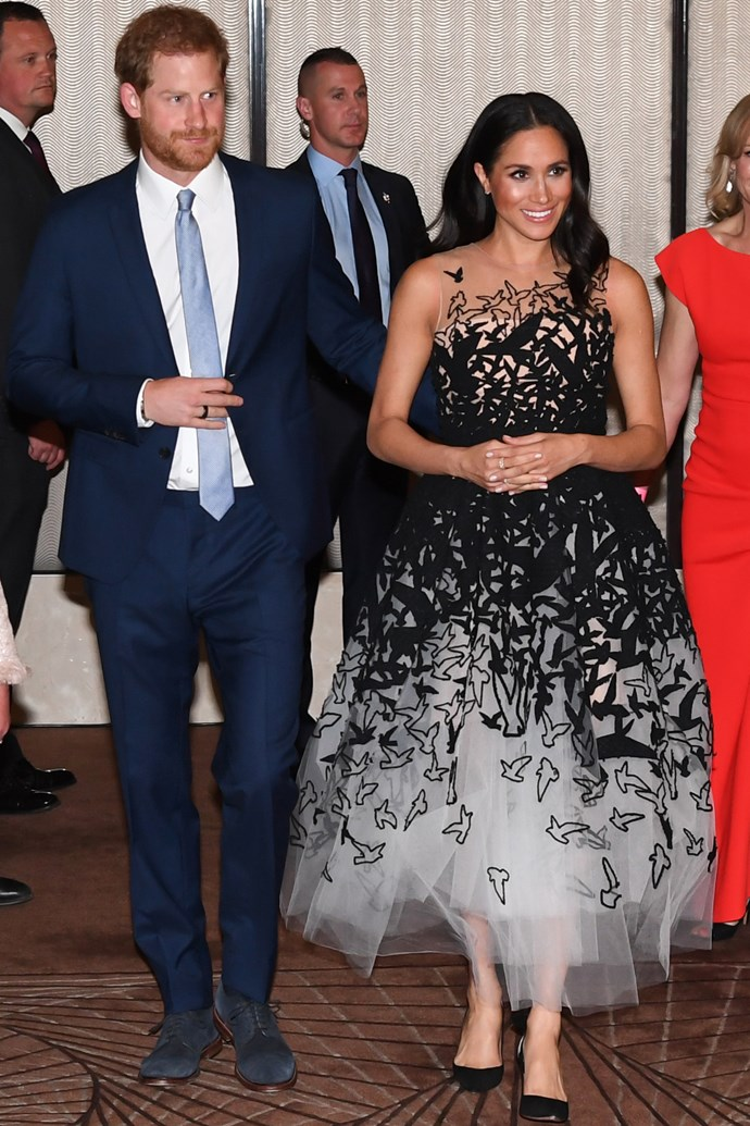 ***Australian Geographic Society Awards***<br><br> Tulle gown by Oscar de la Renta: estimated at $15,176 <br> Stackable Rose Gold Bee Chic Ring by Birks: $3,119<bR> 'Deneuve' pumps by Aquazzura: $849 <br><br> *Total:* $19,144