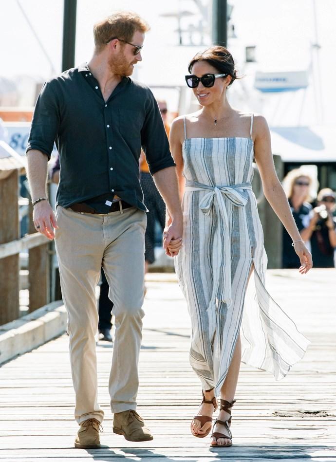 Reformation dress: **$218** <br> Karen Walker sunglasses: **$296** <br> Sarah Flint sandals: **$339** <br><br> **Total cost: *$853***