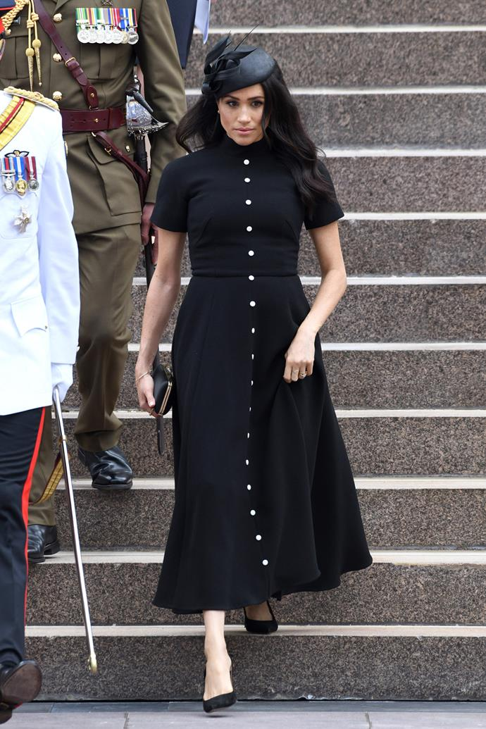 Emilia Wickstead dress: **$2927** <br> Philip Treacy hat: **$700** <br> Manolo Blahnik BB Pumps: **$936** <br><br> **Total cost: *$4,563***