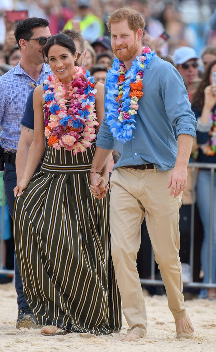 Martin Grant stripe dress: **$1,615** <br> Castañer 'Carina' wedges: **$145** <br><br> **Total cost: *$1,760***