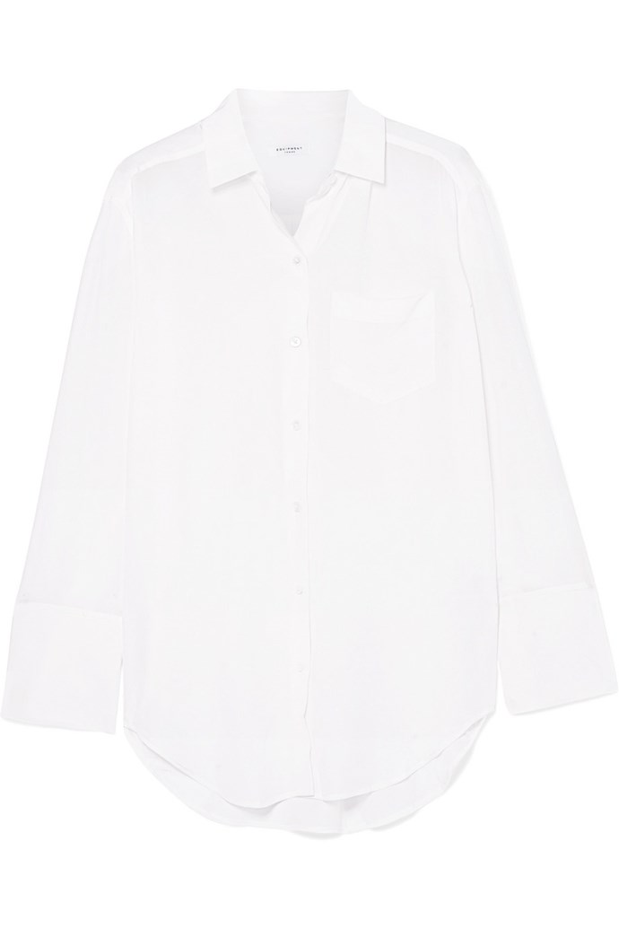 """Coco washed-silk shirt by Equipment, $416 at [Net-a-Porter](https://www.net-a-porter.com/au/en/product/1055727/Equipment/coco-washed-silk-shirt