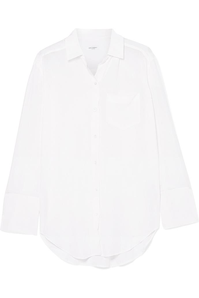 """Coco washed-silk shirt by Equipment, $416 at [Net-a-Porter](https://www.net-a-porter.com/au/en/product/1055727/Equipment/coco-washed-silk-shirt target=""""_blank"""" rel=""""nofollow"""")."""