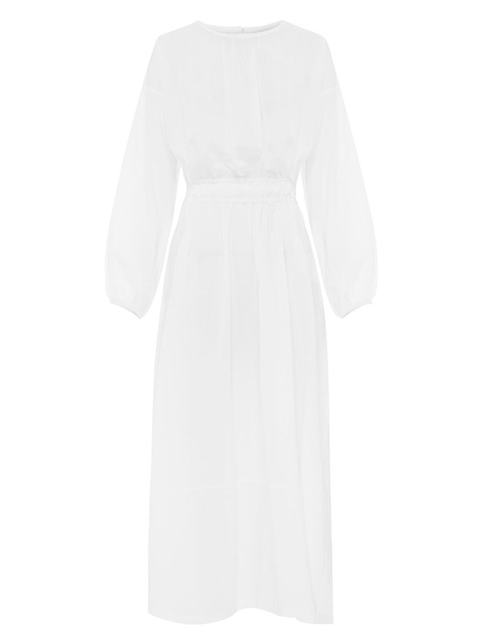 """Long Sleeve Split Dress by Matteau, $540 at [The Undone](https://www.theundone.com/collections/dresses/products/long-sleeve-split-dress-white