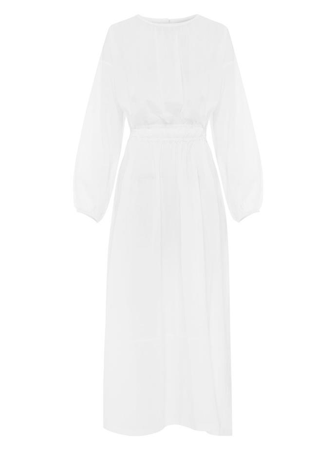 """Long Sleeve Split Dress by Matteau, $540 at [The Undone](https://www.theundone.com/collections/dresses/products/long-sleeve-split-dress-white target=""""_blank"""" rel=""""nofollow"""")."""