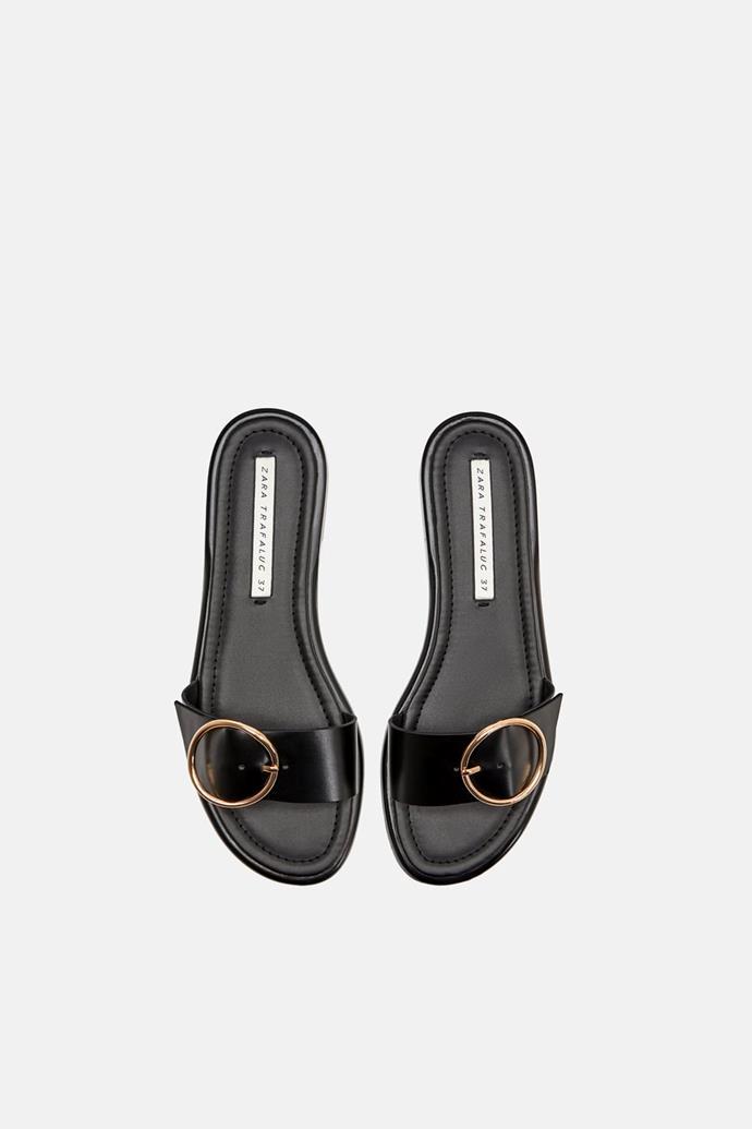 """Buckled sandals, $39.95 at [ZARA](https://www.zara.com/au/en/buckled-sandals-p17601301.html?v1=6460350&v2=1056010 target=""""_blank"""" rel=""""nofollow"""")."""