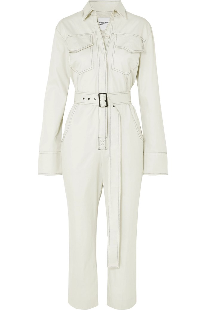 "Cotton-gabardine jumpsuit by Orseund Iris, $880 at [Net-a-Porter](https://www.net-a-porter.com/au/en/product/1115307/orseund_iris/workwear-belted-cotton-gabardine-jumpsuit|target=""_blank""|rel=""nofollow"")."