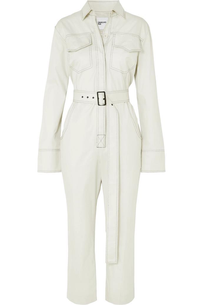 "Cotton-gabardine jumpsuit by Orseund Iris, $880 at [Net-a-Porter](https://www.net-a-porter.com/au/en/product/1115307/orseund_iris/workwear-belted-cotton-gabardine-jumpsuit target=""_blank"" rel=""nofollow"")."